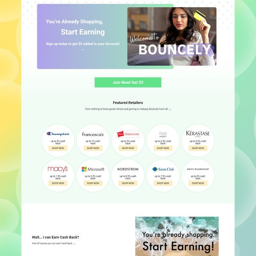 Startup Shopping Portal Bouncely