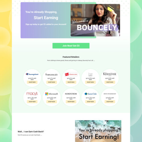 Startup Shopping Portal Bouncely